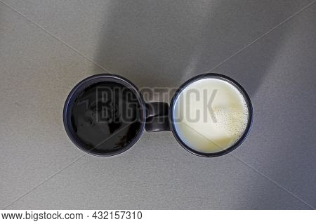 Cup With Black And White Drink On Gray Background, Yin Yang, Mocap, Flat Lay