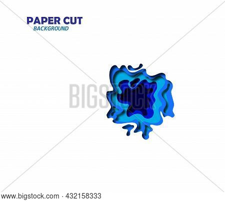 Vector Illustration Of The Abstract Background Made As A Paper Cutout In The Shades Of A Blue Colors
