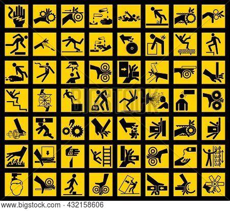 Work Hazard Warning Sign On White Background
