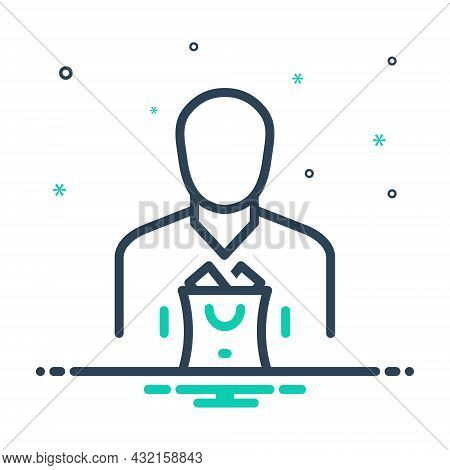 Mix Icon For Consumer User Usufructuary Purchaser Buyer Customer Shopper Person