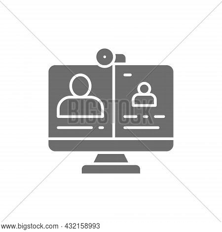 Video Call, Online Meeting, Education, Webinar, Web Conference Grey Icon.