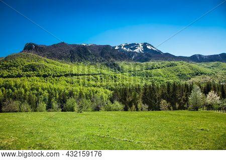 Bright blue sky in beautiful bosnian mountains, Bjelasnica. Bosnia and Herzegovina.