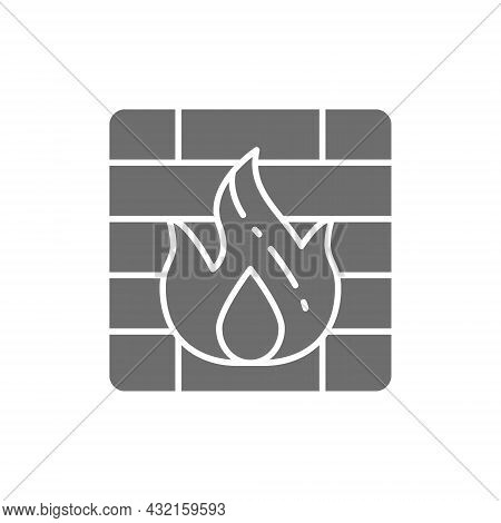 Firewall Grey Icon. Isolated On White Background