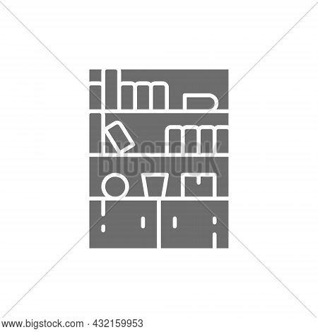 Cupboard, Wardrobe, Furniture Grey Icon. Isolated On White Background