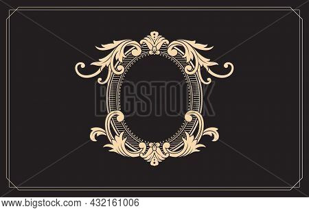 Frame And Border Ornaments Pattern. Ellipse Frame Swirl Elements With Color Gold Isolated Black Back