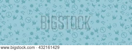 Day Of Peace, Dove, Sun, Olive Branch And Earth. International Day Of Peace, Seamless Pattern.