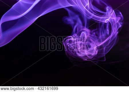 Abstract Colored Smoke Hookah On Dark Background. Texture. Art Design Element. Personal Vaporizers F