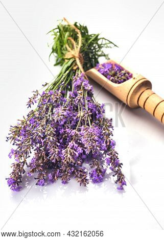 Fresh Lavender Bunch And Lavender Flowers In Glass Bowl. Isolated On White Background.