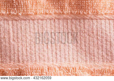 Peachy Soft Warm Fabric. Peach Velvet Background Material, Macro