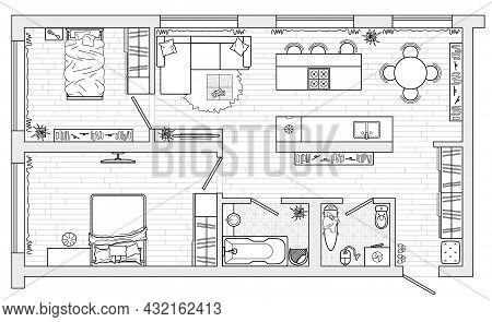 Apartment Studio, Flat Or House Floor Plan.  Interior Design Elements Kitchen, Bedroom, Bathroom Liv