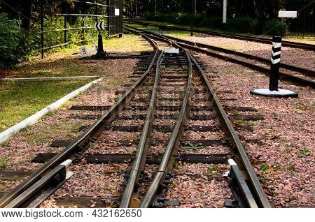 Narrow Gauge Railway Tracks With Switches And Interchanges At Kyiv Children's Railway In Syretsky Pa