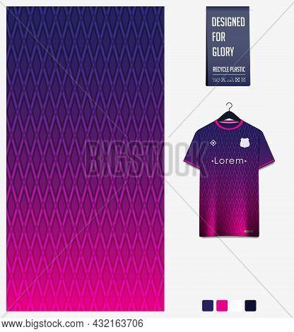 Soccer Jersey Pattern Design. Geometric Pattern On Violet Background For Soccer Kit, Football Kit, B