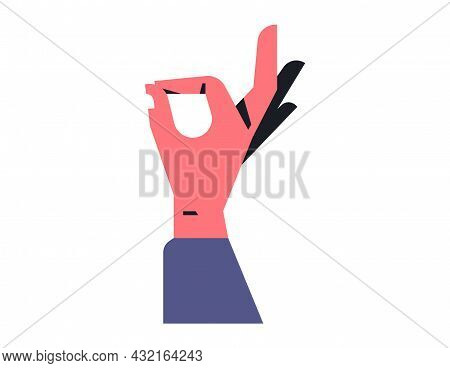 Male Hand Showing Symbol Ok. Sign Of Consent, Excellent Quality, Right Choice. Vector Illustration I
