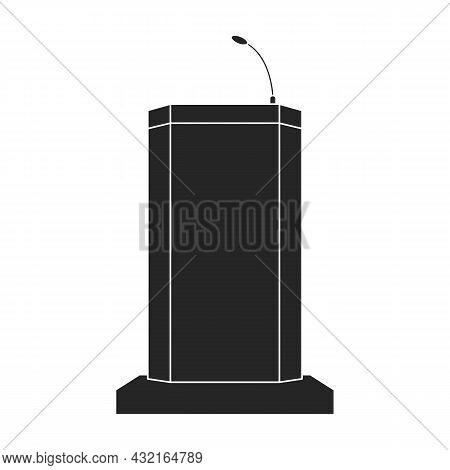 Tribunal Podium Black Vector Icon.black Vector Illustration Podium Conference. Isolated Illustration