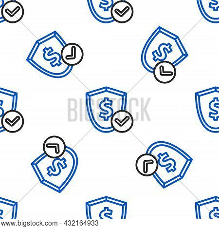 Line Shield With Dollar Symbol Icon Isolated Seamless Pattern On White Background. Security Shield P