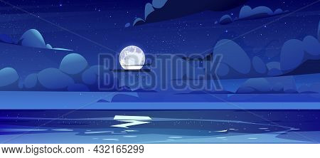 Sea Landscape With Moon, Stars And Clouds In Dark Sky At Night. Vector Cartoon Illustration Of Midni