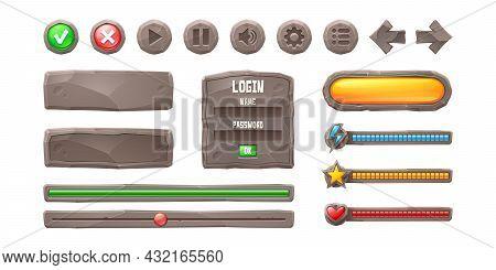Set Progress Bars, Game Buttons, Menu Ui Or Gui Elements. Cartoon Interface Of Stone Texture. User S