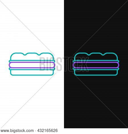 Line Sandwich Icon Isolated On White And Black Background. Hamburger Icon. Burger Food Symbol. Chees