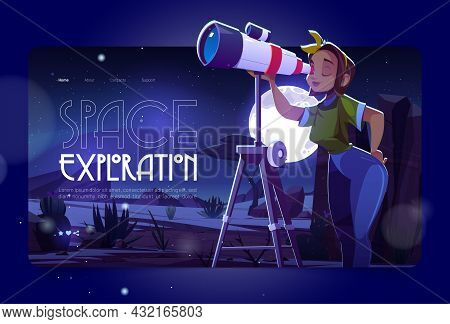 Space Exploration Cartoon Landing Page. Woman Look In Telescope, Curious Young Girl Explore Moon And