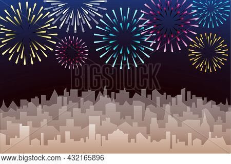 Night Cityscape With Fireworks. Evening Landscape With Skyscrapers Silhouette And Bright Holiday Sal