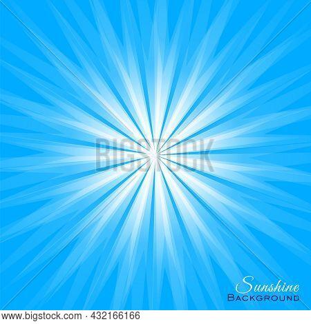 White Sunlight On Blue Background. Sunshine Cover Vector Illustration With Dazzling Radiance. Solar