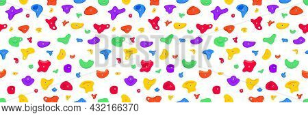 Seamless Pattern Of Climbing Grips Or Holds In The Gym Bouldering Training Flat Style Design Vector
