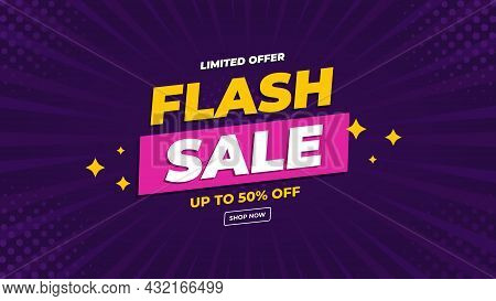 Flash Sale Banner With Purple Comic Style Background And Limited Offer Up To 50%