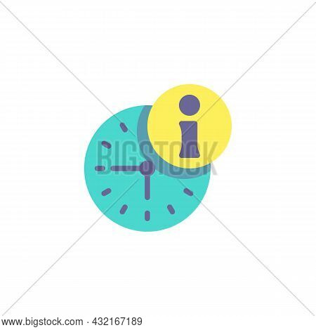 Help Desk Time Flat Icon, Vector Sign, Clock And Information Colorful Pictogram Isolated On White. S