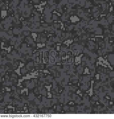 Digital Camouflage Pattern Background, Seamless Vector Illustration. Classic Clothing Style Masking