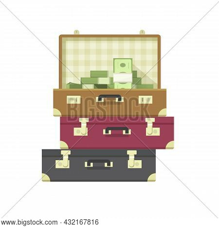 Lots Of Money Heap Or Million Cash Pile Of Dollars In Suitcase Case Vector Flat Cartoon Illustration