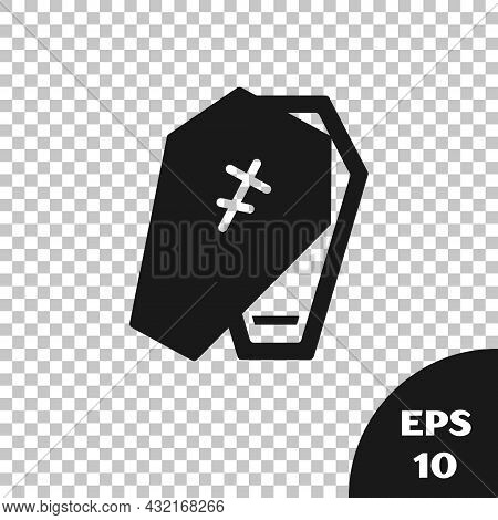 Black Coffin With Christian Cross Icon Isolated On Transparent Background. Happy Halloween Party. Ve