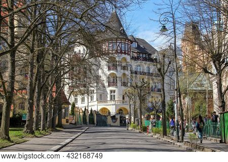 Karlovy Vary, Czech - April 26, 2012: This Is One Of The Houses In The Style Of Modernism (late 19th