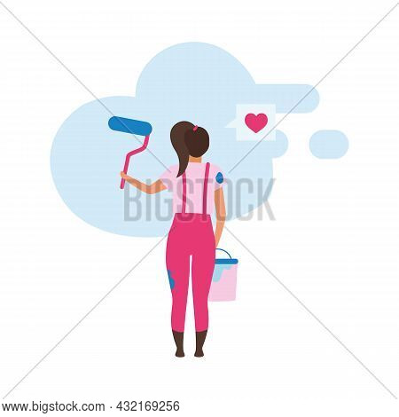 Girl Painting Wall With Roller Semi Flat Color Vector Character. Full Body Person On White. Amateur