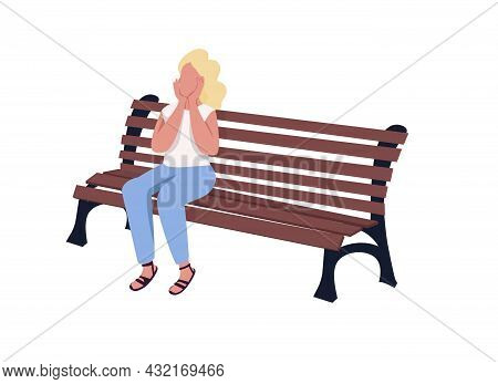 Pleased Girl Sitting On Bench Semi Flat Color Vector Character. Full Body Person On White. Park Visi