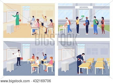 After Covid Pandemic Rules At School Flat Color Vector Illustration Set. Coronavirus Precaution Meas