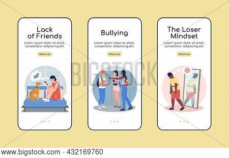 Teenager Problems Onboarding Mobile App Screen Flat Vector Template. Walkthrough Website 3 Steps Wit