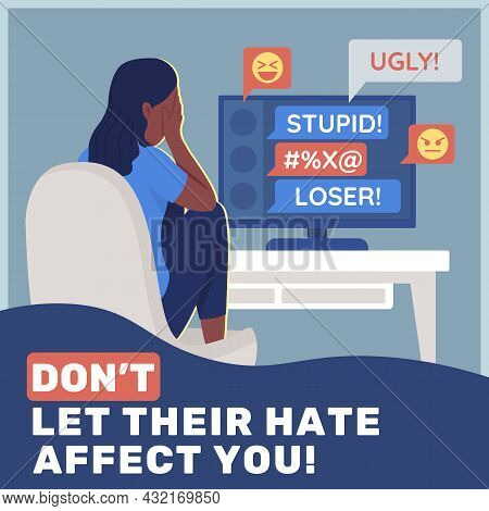 Cyberbullying Prevention Social Media Post Mockup. Not Let Their Hate Affect You Phrase. Web Banner