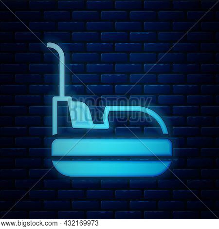 Glowing Neon Bumper Car Icon Isolated On Brick Wall Background. Amusement Park. Childrens Entertainm