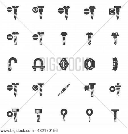 Types Of Screws Vector Icons Set, Fastener, Fixing Modern Solid Symbol Collection, Filled Style Pict