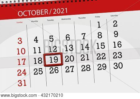 Calendar Planner For The Month October 2021, Deadline Day, 19, Tuesday.