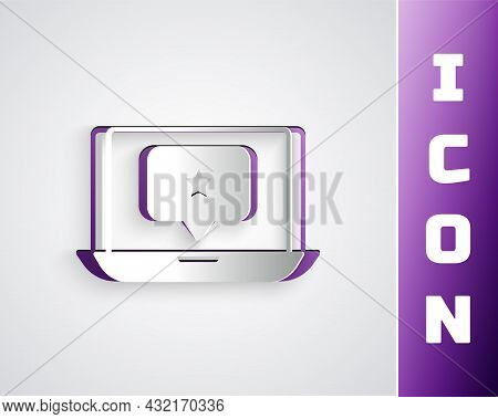 Paper Cut Laptop With Star Icon Isolated On Grey Background. Favorite, Best Rating, Award Symbol. Pa