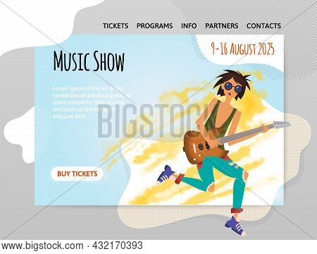 Design Template For Music Show, Concert Or Festival. Guitar Or Music School. A Man Playing The Guita
