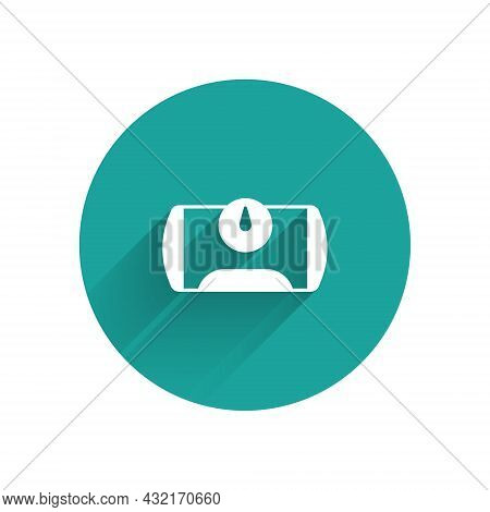 White Gas Tank For Vehicle Icon Isolated With Long Shadow Background. Gas Tanks Are Installed In A C