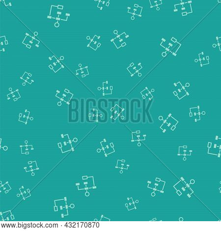 Green Business Hierarchy Organogram Chart Infographics Icon Isolated Seamless Pattern On Green Backg