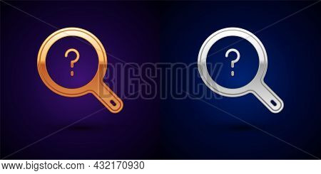 Gold And Silver Unknown Search Icon Isolated On Black Background. Magnifying Glass And Question Mark