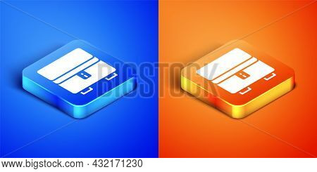 Isometric Jewelry Box Icon Isolated On Blue And Orange Background. Casket With Jewelry. Square Butto