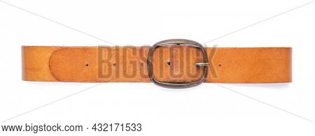 Old leather belt isolated on white background. Old shabby belt with buckle