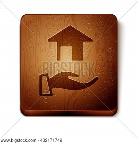 Brown Realtor Icon Isolated On White Background. Buying House. Wooden Square Button. Vector