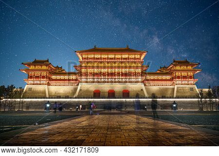 China Night Building Ancient Architectural Building The Tang Dynasty