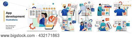 App Development Isolated Set. Programmers Develop Software And Software. People Collection Of Scenes